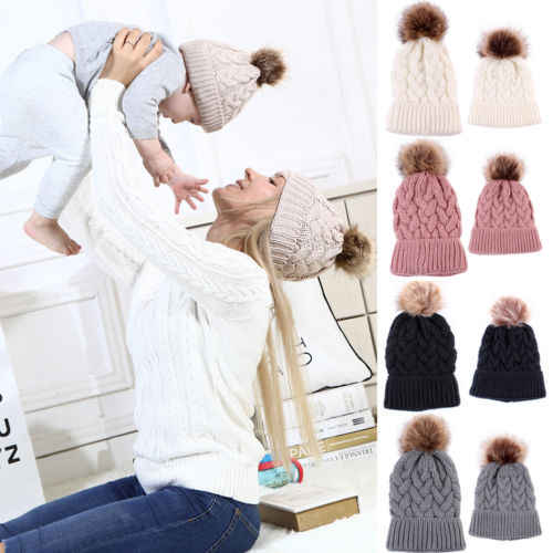 ad52277fb649a6 1Pc Fashion Candy Colors Mom or Baby Knitting Keep Warm Hat Women Winter Hat  Family Matching