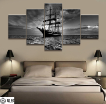 Home Decor Modular Canvas Picture 5 Piece Dark Pirate Ship Poster Art Painting Wall For Wholesale