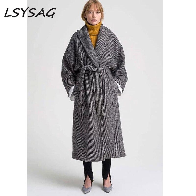 LSYSAG Женское шерстяное пальто зимнее теплое модное корейское Свободное пальто с отложным воротником с регулируемым поясом Большие размеры