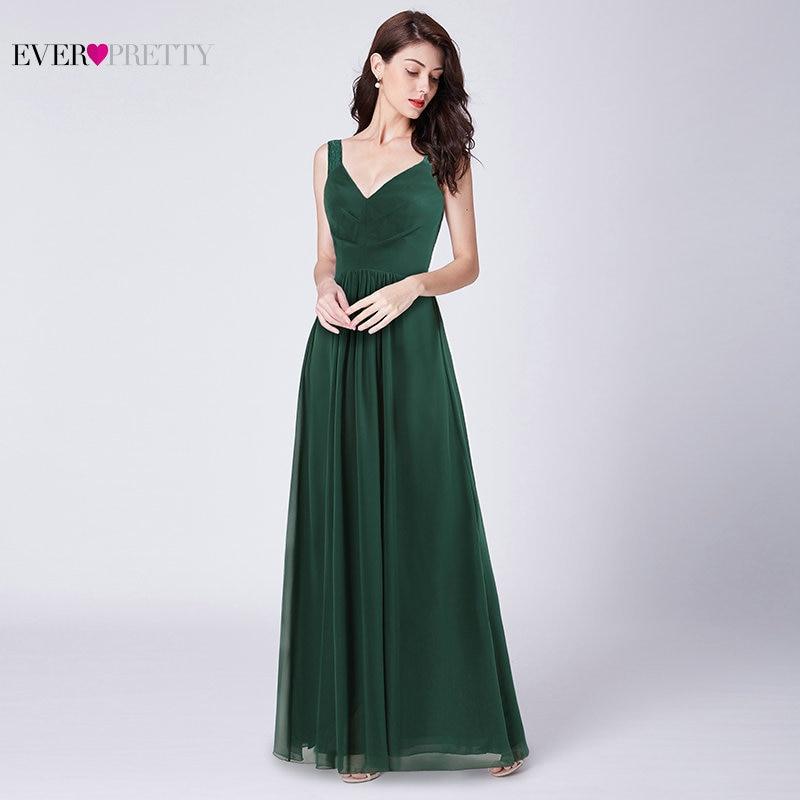 Classic   Bridesmaid     Dresses   Long Ever Pretty V-Neck A-Line Sleeveless Vintage Elegant Gowns for Wedding Guests Vestido Madrinha