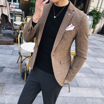 Autumn And Winter New Korean Version Of The Self-cultivation Houndstooth Material Small Suit British Wind Casual Blazer