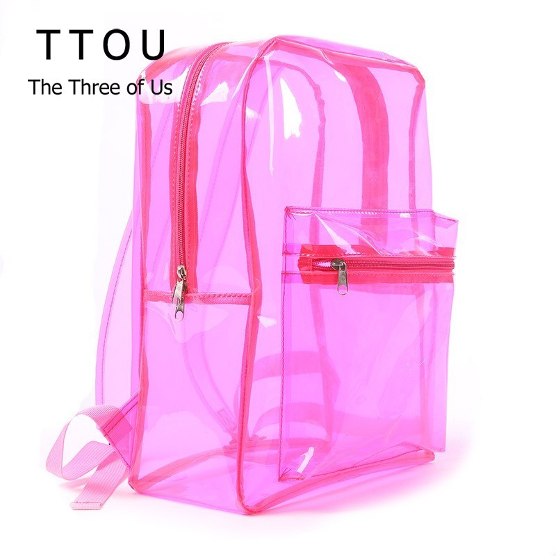 TTOU Women Transparent PVC Backpack Female Clear Jelly Travel Backpack Purse Crystal Beach Bag Portable Lady Jelly Bag