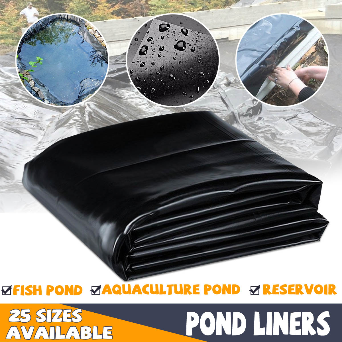 8-32ft Fish Pond Liner Gardens Pools PVC Membrane Reinforced Landscaping HDPE Heavy   Pool Waterproof Liner Cloth