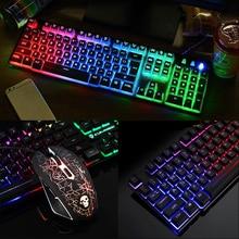 Светодиодный подсветкой игровая клавиатура ПК ноутбук эргономичный 104 ключей Игровая USB Проводная клавиатура Мышь коврик комплект