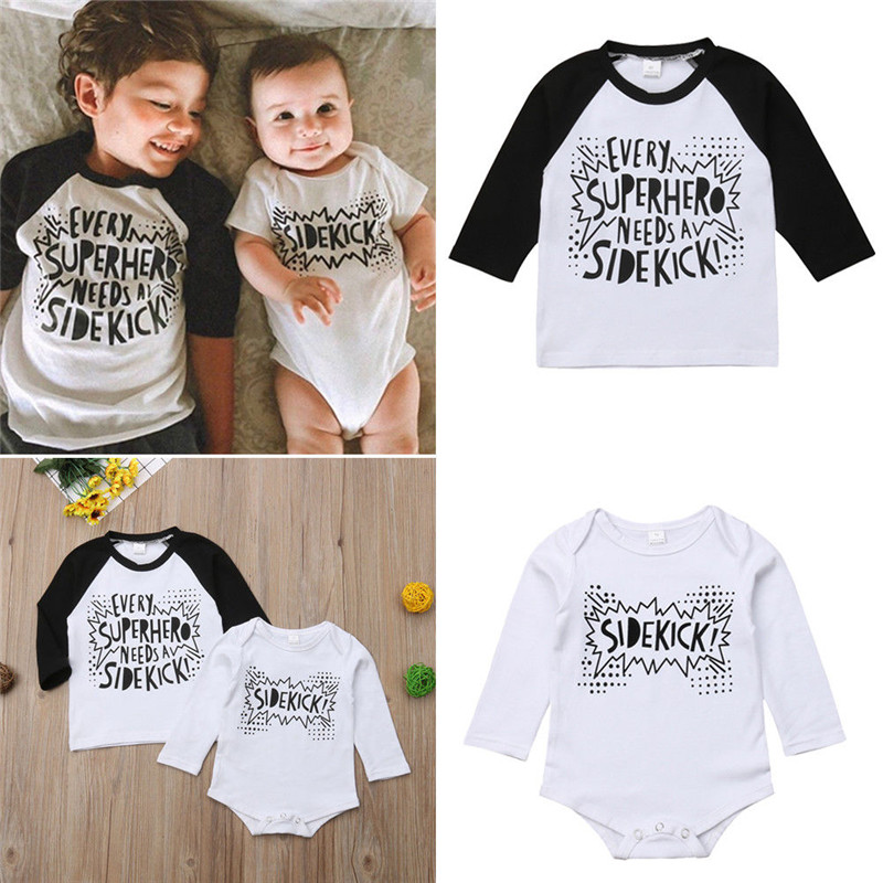 Family Matching Clothes Little Brother Cotton Super Hero Letter T-<font><b>Shirt</b></font> Bodysuit Long Sleeve Black White Baby Boys <font><b>Twin</b></font> T-<font><b>shirt</b></font> image