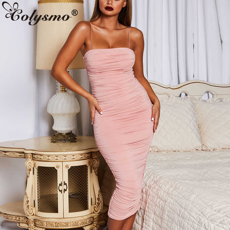 c65550e6a6656 Colysmo Two Layers Summer Women Dress Sexy Slim Club Wear Party Dress Long  Ruched Elegant Dresses 2019 New Pink Dress Vestidos