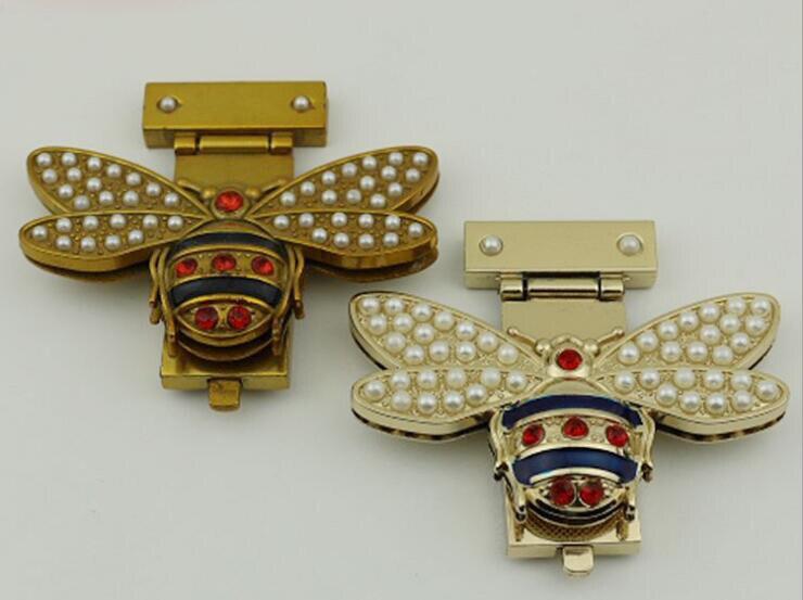 6 Pcs/lot 2 Colors New Fashion Pearl Diamond Shape Bee Decorative Lock Handbags Luggage Hardware Accessories Metal Lock