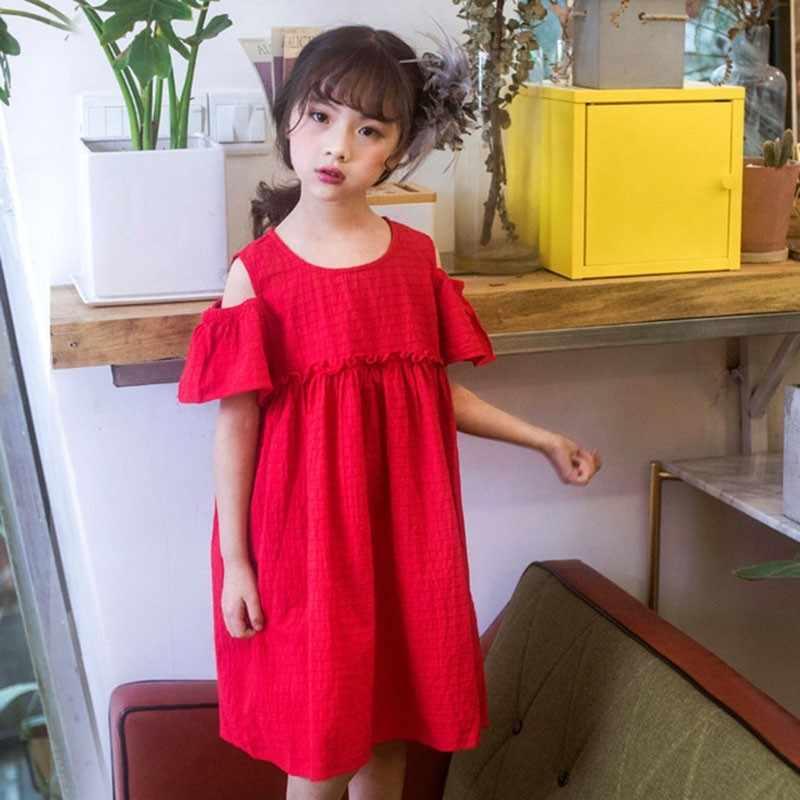 Vestido De Fiesta De Algodón Para Niñas Verano 2019 Manga Corta Rojo De Hombro Una Línea De Malla Bebé Niña Vestido 12 10 8 6 4 A 14 Años