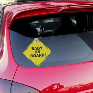 Image 3 - 1mm Thickness Car Sticker BABY ON BOARD Baby Car Warning Signal Safety Sign Environmental Protection Suction Cup Style Sticker