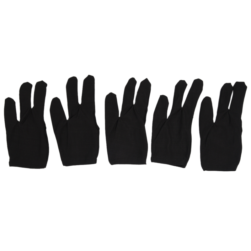 5 x 3 Fingers Gloves for Cue Billiards Snooker, Black