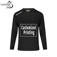 Lanmaocat Dry Fit Men Running Shirts Custom Men's T shirts With Print Man Long Sleeve Tee Shirt Sport Wear 4XL Free Shipping