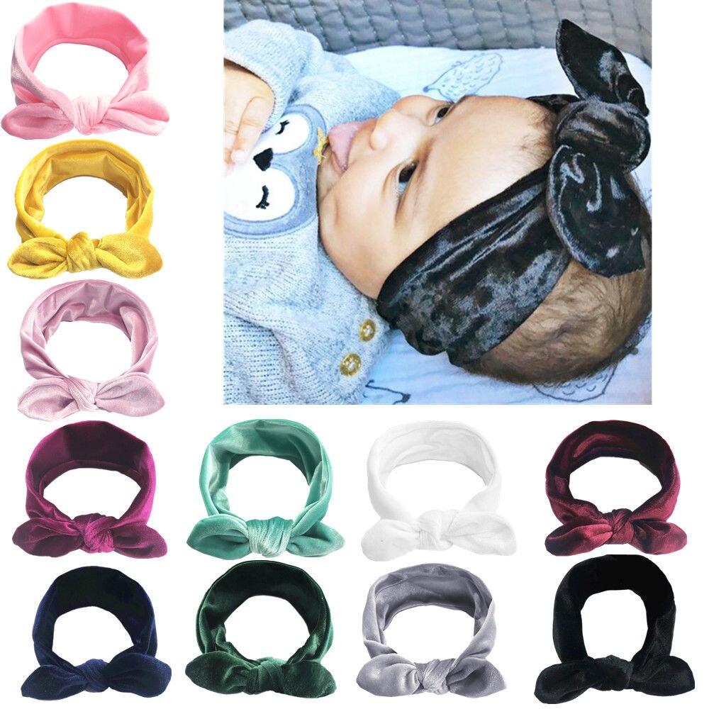 Cute Toddler Kids Baby Girl Velvet Rabbit Ear Headband Fashion Cartoon Bow Turban Hair Band Headwear Girls Casual Headbands 0-6T