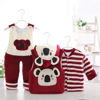 Infant winter suit baby cartoon bear thick vest + jacket + bib suit three sets toddler boys girls clothing set