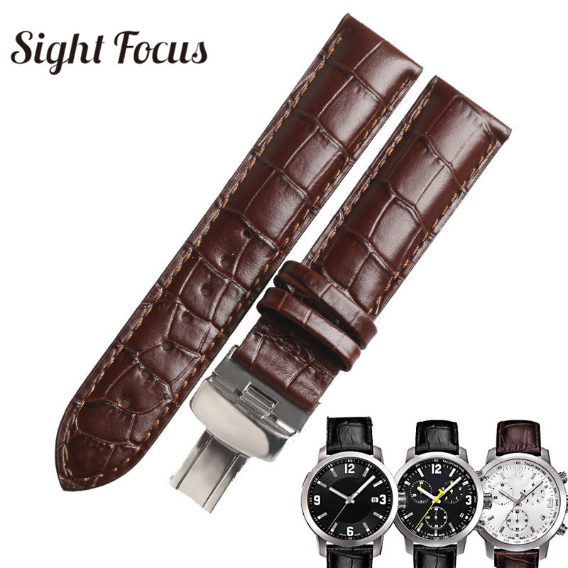 23mm Watch Bracelet for Tissot <font><b>PRC200</b></font> <font><b>Strap</b></font> T055 Watches Band Black Brown Calfskin Cowhide Leather Belts Masculino Relogio Saat image