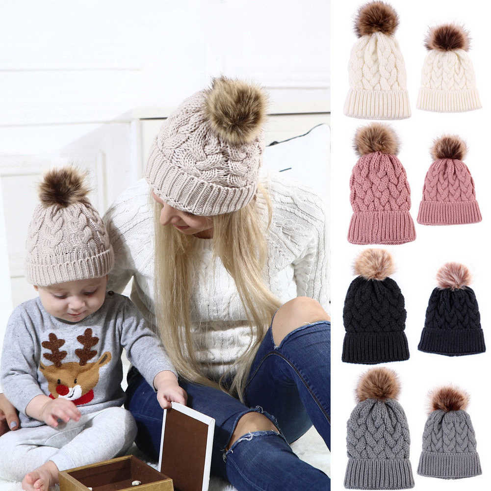Pudcoco Mother Daughter Son Winter Knitted Hats Warm Fur Pom Beanie Caps Family Matching Hats Women Baby Boy Girl Caps