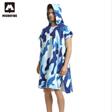 Microfiber Camouflage Surf Poncho Anti-uv Surf Beach Wetsuit Cover Up Bathrobes Quick Drying Beach Hooded Towel