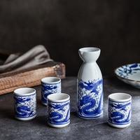 Household Japanese style ceramic liquor tableware wine cup pot antique separator yellow wine sake bottle tray small wine set