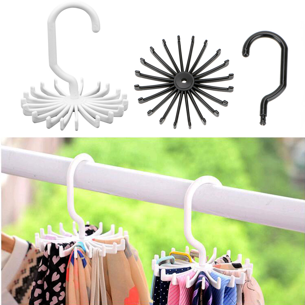 Scarf Hanger Tie Belt Hanger Drying Rack Laundry Hanger Clothes Holder Wardrobe Organizer Rack ABS Rotating Home Storage