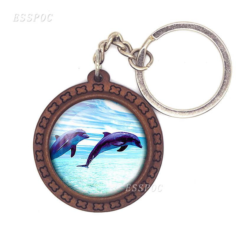 Delfines foto colgante delfín vidrio cabujón llavero delfín joyería Animal llavero Animal colgante cumpleaños regalo para Mujeres Hombres