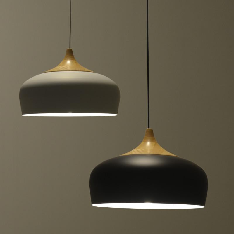 Nordic կախազարդ լամպ Ժամանակակից ռեստորանային անկողնային սենյակ լուսավորող ճապոնական փայտ կախազարդ լույսեր սև / սպիտակ լույսի հարմարանքներ AC110V / 220V E27