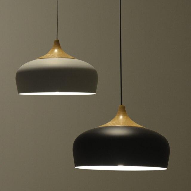 Nordic Pendant Lamp modern Restaurant bed room lighting japanese Wood pendant lights black/white light fixtures AC110V/220V E27