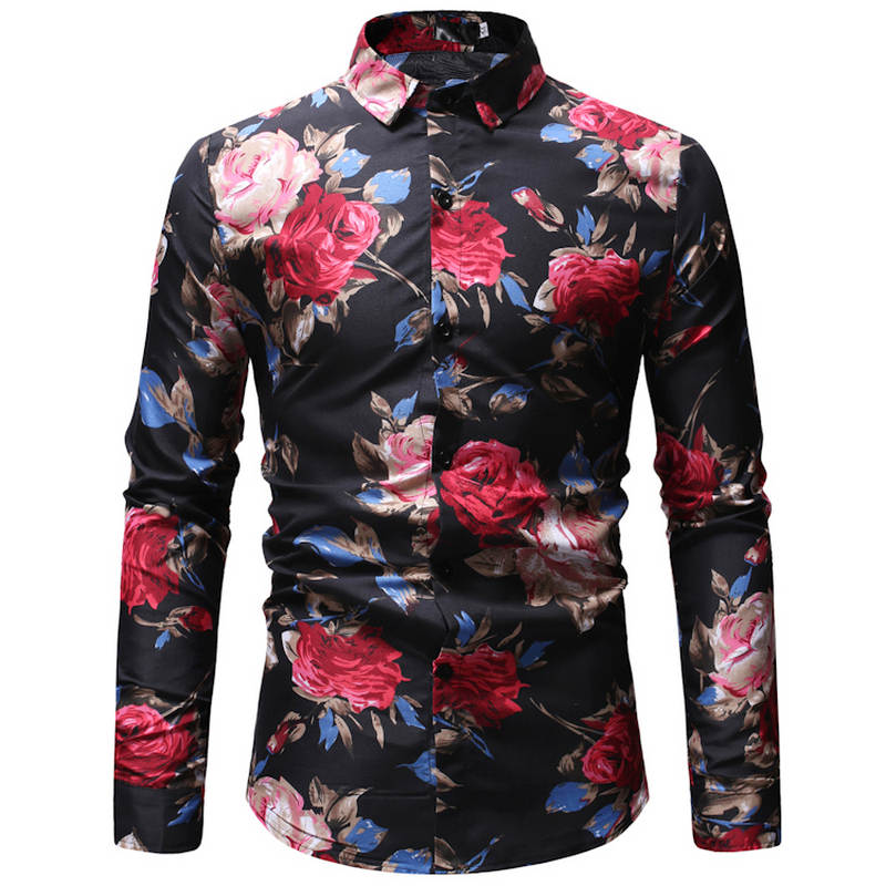 2019 Autumn New Fashion Male Shirt Casual Long Sleeve Button Shirt For Men Rose Printed Floral Shirts Men Plus Size 3XL 23 Color