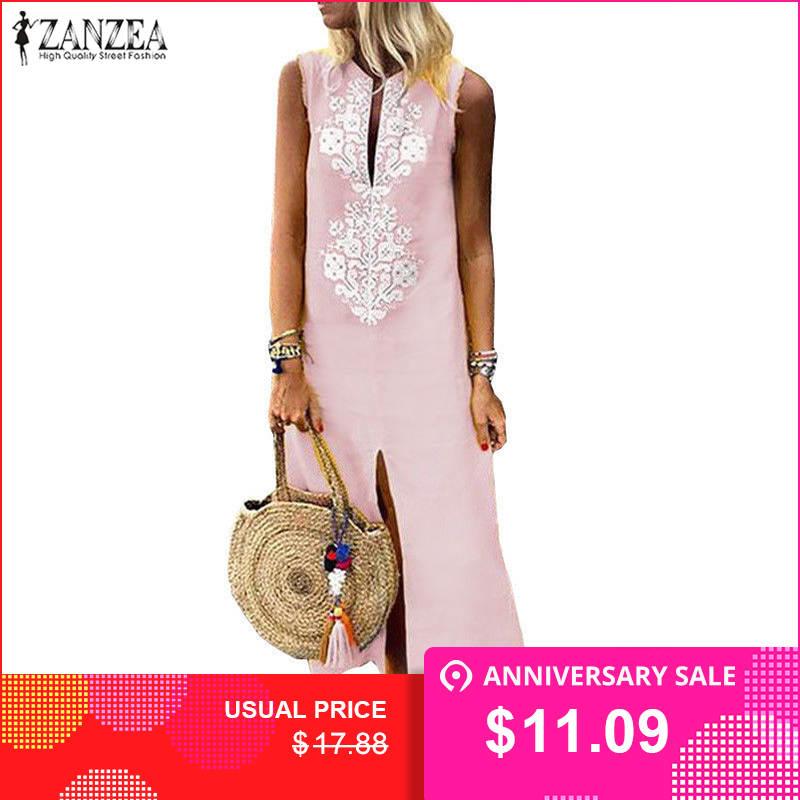 a8a2814cb056 Vestido de verão Mulheres Maxi Vestido Robe Femme ZANZEA Impresso Pescoço V  Sexy Vestidos de Verão