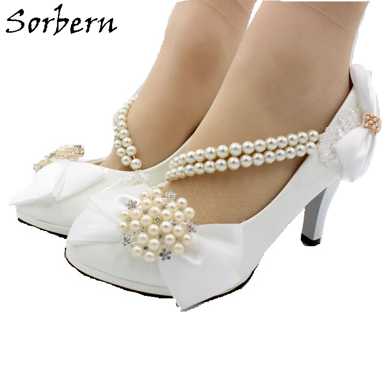 Sorbern White Bridal Wedding Shoes Low Heels Slip On Beading Shoes For Brides Lace Applqiue Pointed Toe Crystal Pumps Shoes