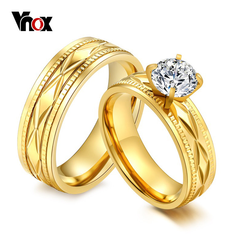 Vnox 2pcs Engagement Wedding Rings Big CZ Stone Gold Women Men Promise Jewelry