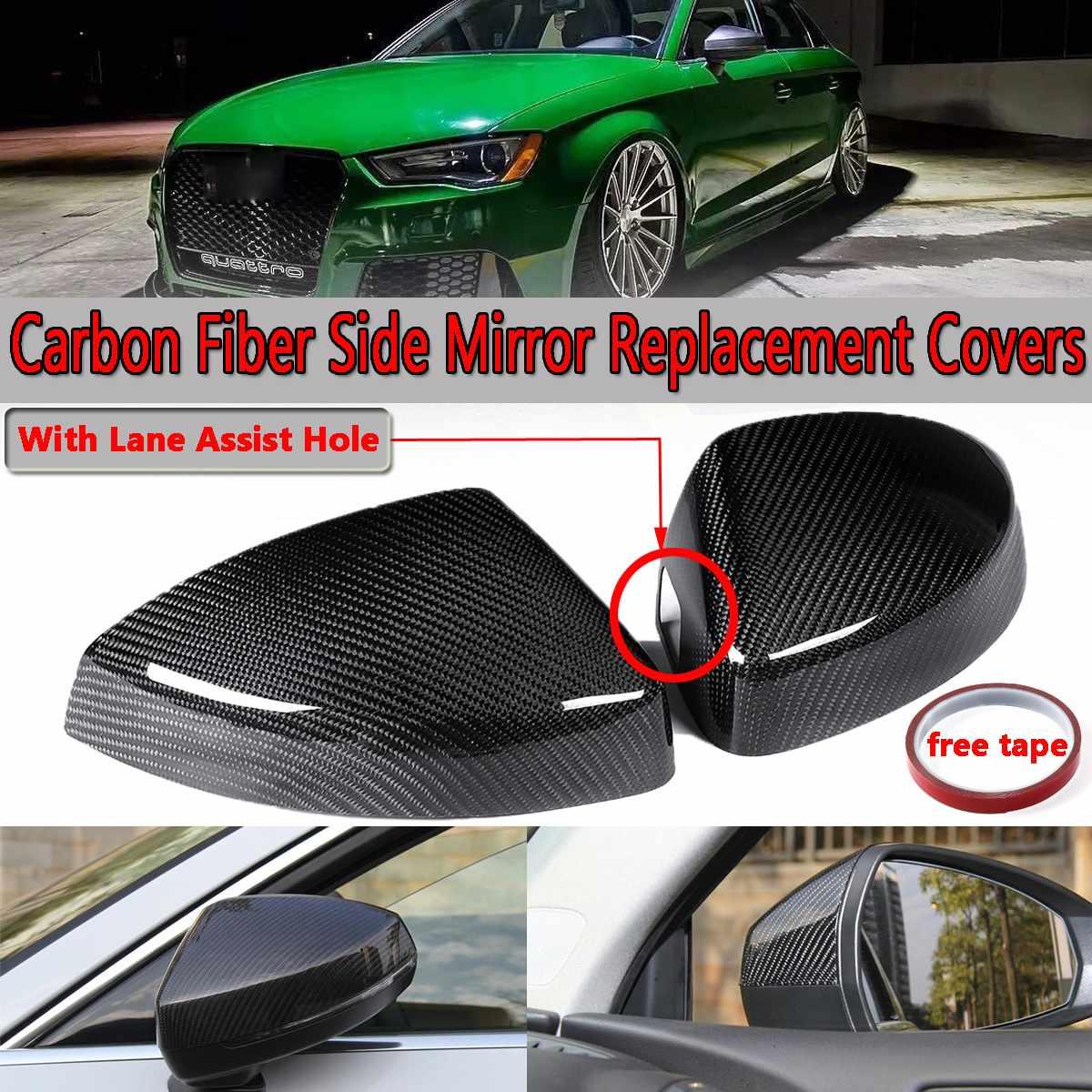 Здесь можно купить  2pcs Real Carbon Fiber Add-on Car Side Mirror Covers For Audi A3/S3/RS3 Models 2014-2018 With Lane Assist Option  Автомобили и Мотоциклы