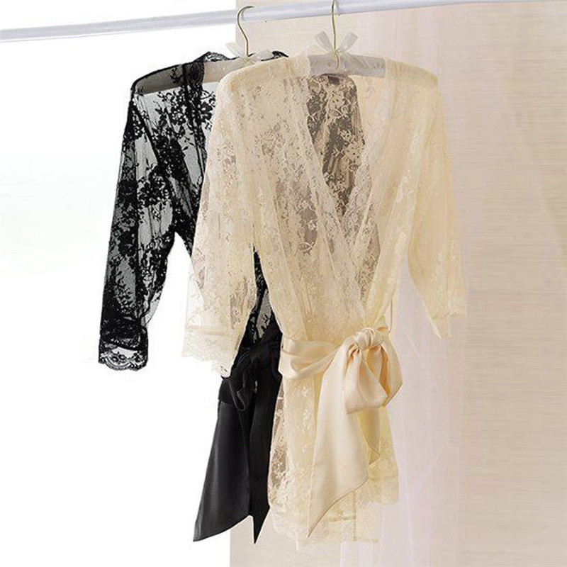 Women\\'S Summer Belt Long Sleeve Solid Sexy Silk Lace Mini Robe Wedding Nightdress Sleepwear Dressing Gown