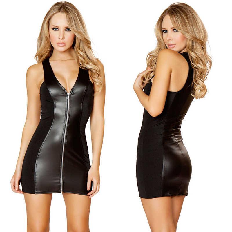 Bainha de couro vestido de verão frente zíper até vestido de mulher profunda v-neck curto mini vestido sexy clube festa verão preto sólido