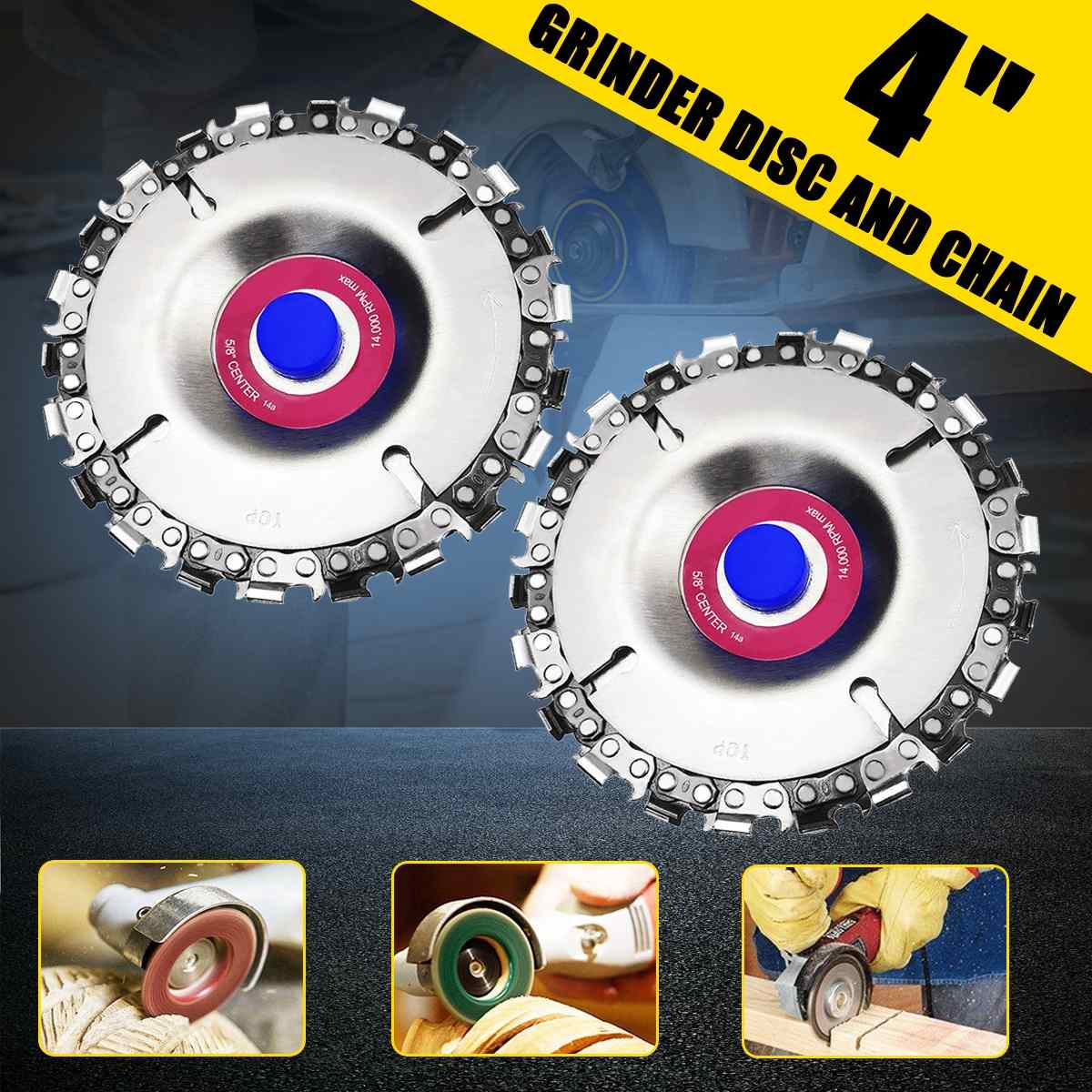 1Pcs 4'' Woodworking Chain Plate Angle Grinding Chain Wheel Wood Carving Disc 22 Tooth For 100/115mm Angle Grinder
