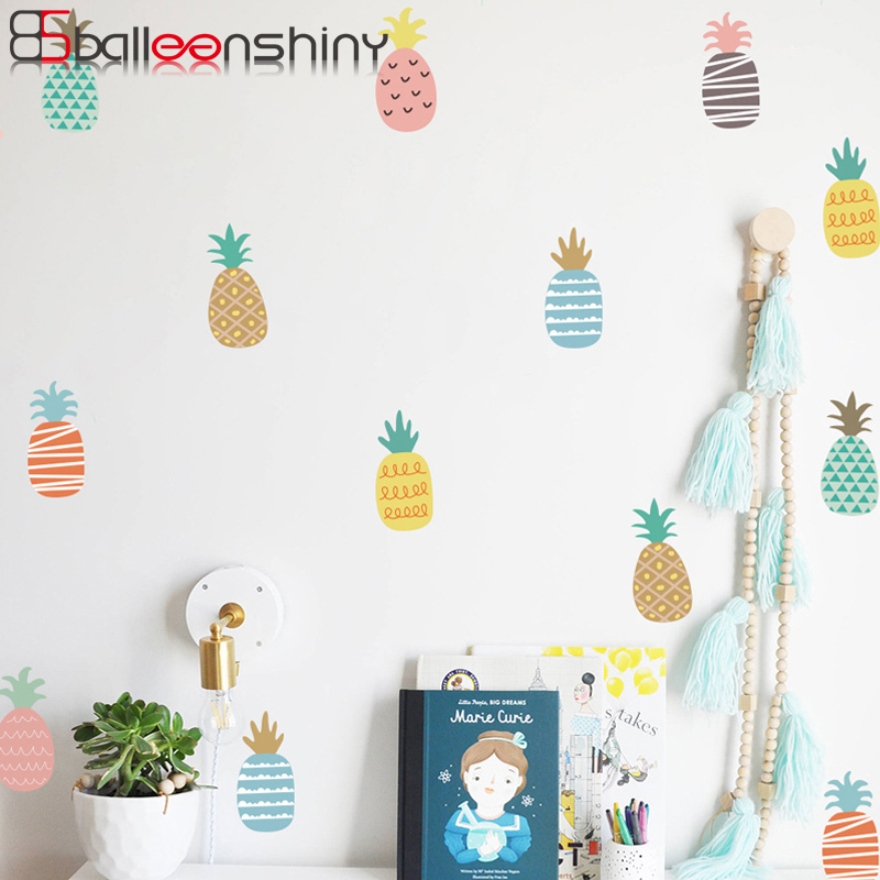A Ton Of Rooms With Colorful Toys: BalleenShiny 24pcs/set Colorful Pineapple Wall Sticker DIY