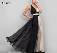 Xnxee 2018 Summer Elegant Sleeveless Halter V-Neck Maxi Dress Women Sexy Long Color Block Patchwork Chiffon Dresses