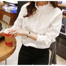 Women White Shirt  Plus Size 2XL Women Fashion Solid Color Office Work Blouse 2019 Korean Lady Casual Ruffled Collar Pocket Tops цена 2017