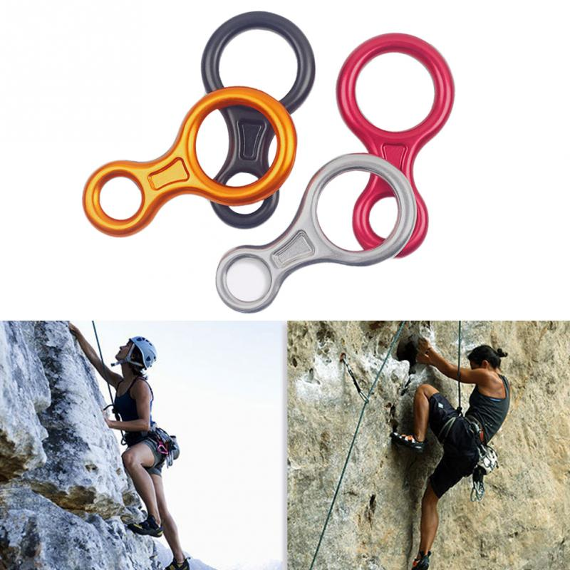 35KN Pull Force Outdoor Rock Climbing 8 Ring Descender Escape Rope Slow Descent Device Professional Descender for 8-13mm rope