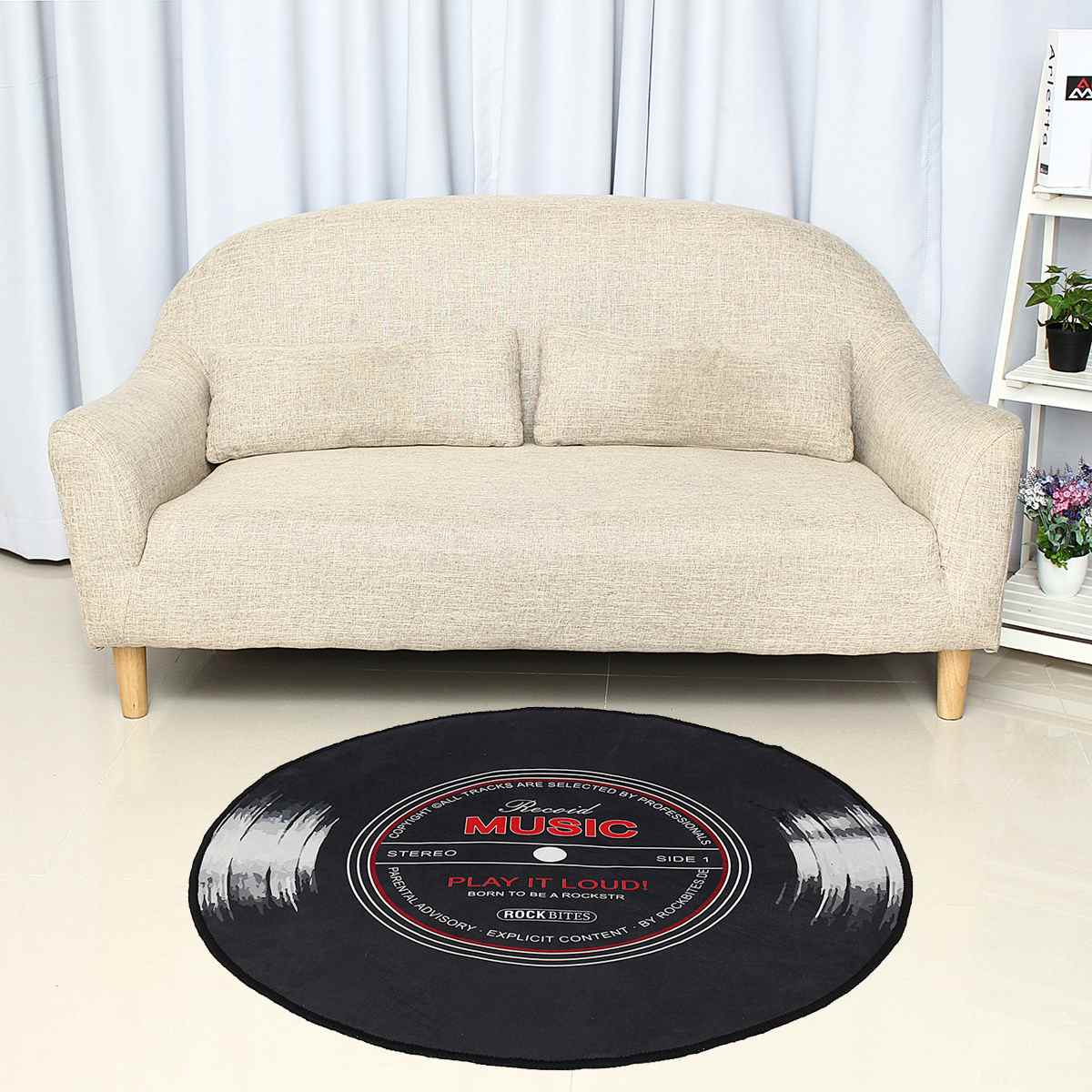 4 Size Music Carpet Rug Living Room Bedroom Kids Room 3D Vinyl Record Printed Round Floor Mat Chair Home Kitchen Decor Anti Slip