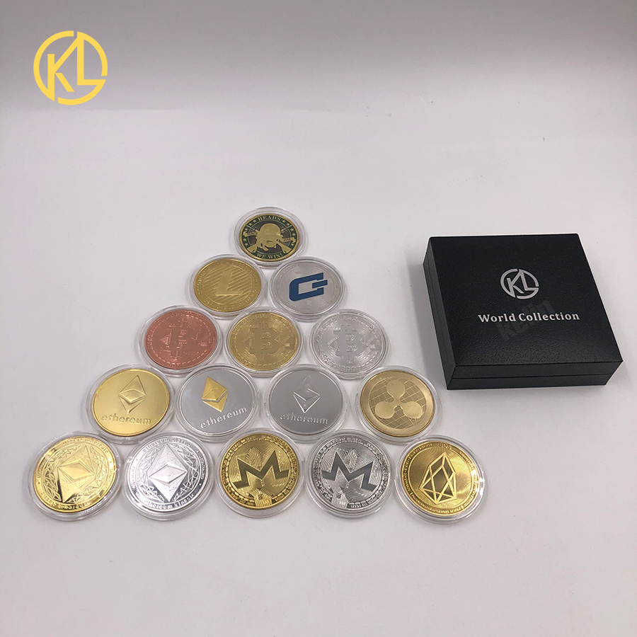 Gold Plated Physical Bitcoins Bit Coin BTC With Case And Nice Gift Box Physical Metal Antique Imitation BTC Coin Art Collection-3