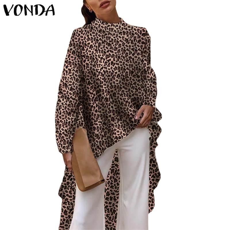 VONDA 2019 Casual Women   Blouses   Long Sleeve Elegant Sevy Summer Leopard Print   Blouse   OL   Shirt   Asymmetrical Long Tops Plus Size