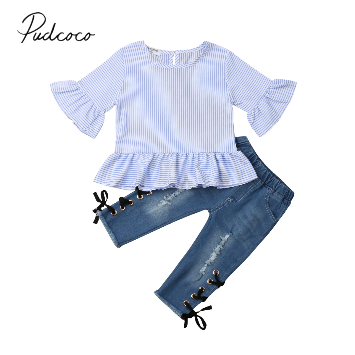 US Newborn Kids Baby Girl Ruffle Striped Tops T-shirt Long Pants Outfits Clothes