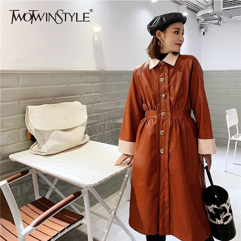 TWOTWINSTYLE PU   Leather   Trench Coat Women Patchwork Long Sleeve Casual Windbreaker Tops Female Fashion Clothes 2018 Autumn New