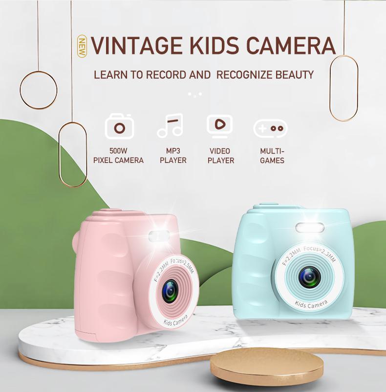 EastVita Mini Digital Camera 2 Inch Cartoon Cute Camera Toys Children 720P Toys Camera Children Camera With MP3 Lanyard R
