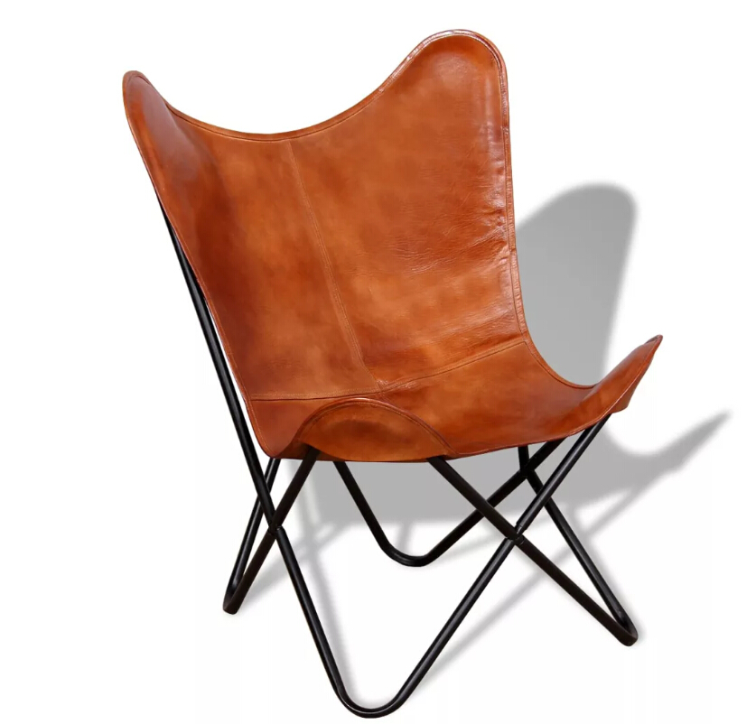 VidaXL Portable Folding Butterfly Chair Upholstery PU Leather Living Room Furniture Lightweight Foldable Leisure Accent Chair