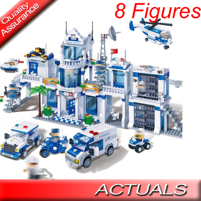 US $27 9 |1285pcs Banbao 8353 City Extra Large Police Station Building  Blocks Compatible with Lego Helicopter CAR MOC Model Christmas Toy-in  Blocks