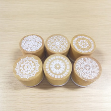 DIY Paper Cards Scrapbooking Decor Round Rubber Stamp Christmas Gift Decoration Assorted Retro Floral Pattern Wood Stamp