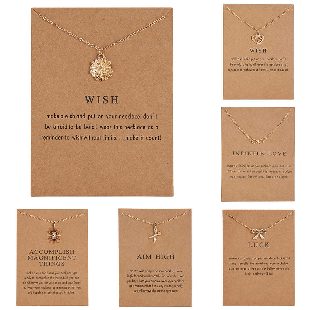 RINHOO WISH Gold-color Hope Flowers Sunflower Alloy Clavicular Bones Pendant Short Necklace fashion jewelry  Kraft paper