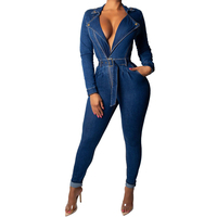 Sexy Slim Denim Rompers Jumpsuits For Women Long Sleeve Bodycon Sashes BodySuits Long Pants Turndown Collar Plus Size Playsuits