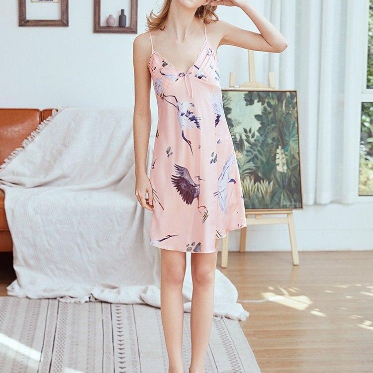 2019 New Arrival Women V-Neck Spaghetti Strap Mini   Sleepshirts   Summer Floral Print Slim   Nightgowns