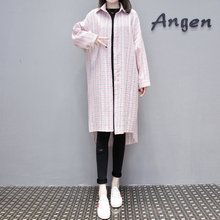 4XL Long Shirt Plus Size Women Blouse Low-high Design Korean Fashion 2019 Casual Plaid Long Sleeve Blouse Sun-proof Shirts цены онлайн